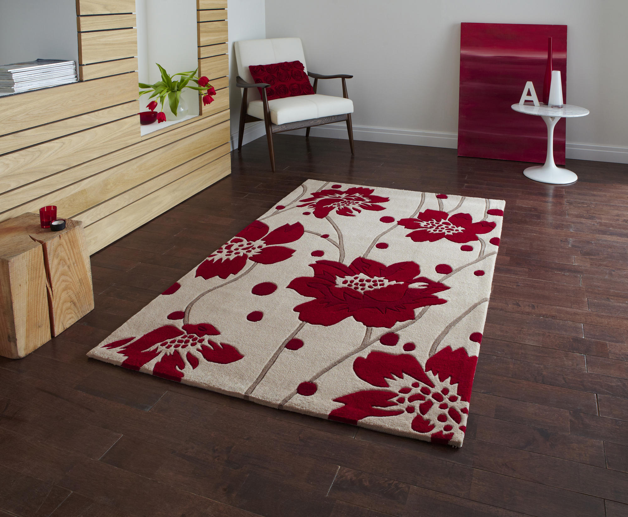 Rug modern floral flower beige red small medium large for Fotos de alfombras