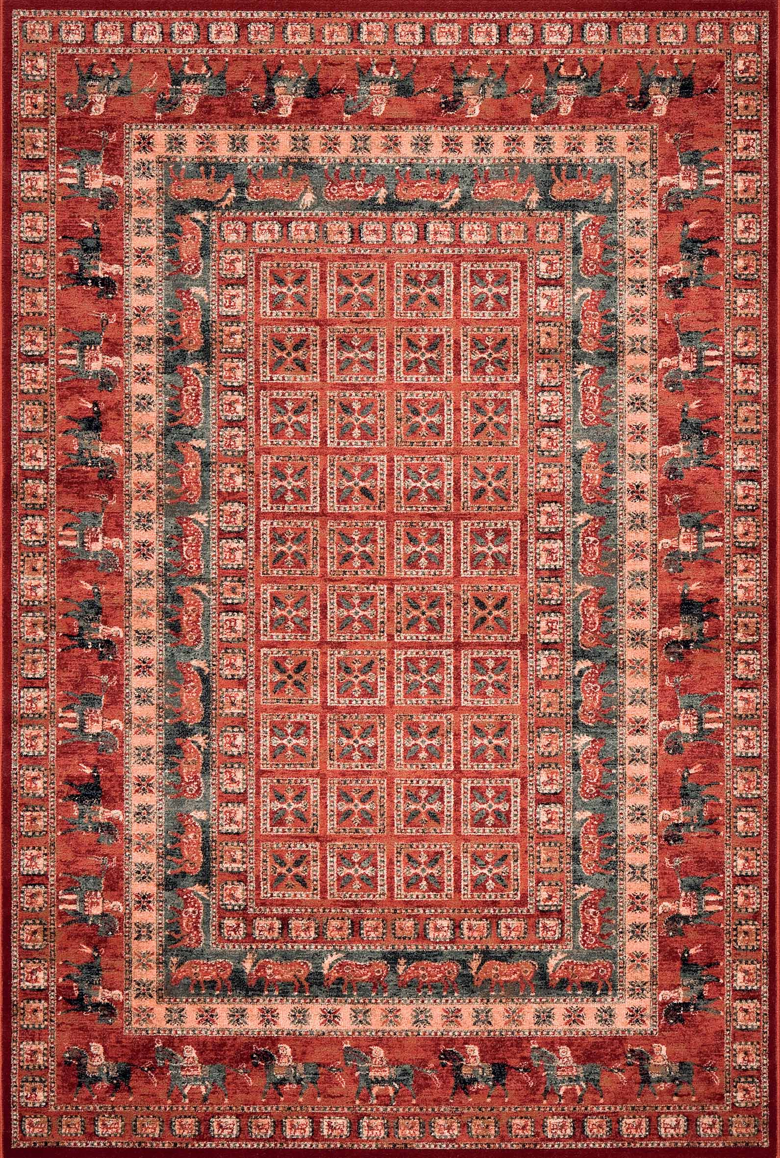 Rug Runner Traditional Persian Pazyryk Design Wool Red