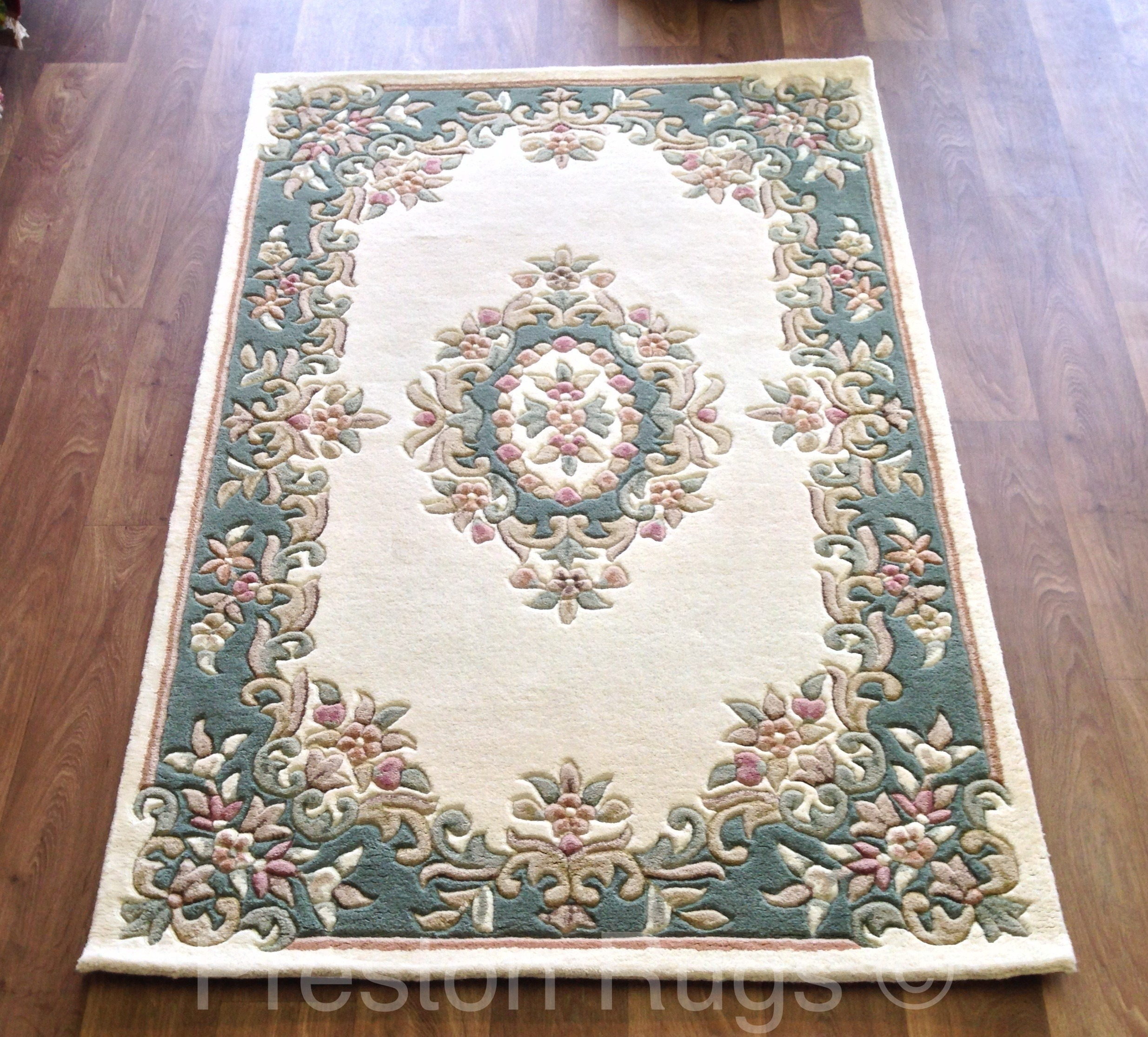 Royal traditional aubusson wool rug cream green ebay for Green and cream rugs