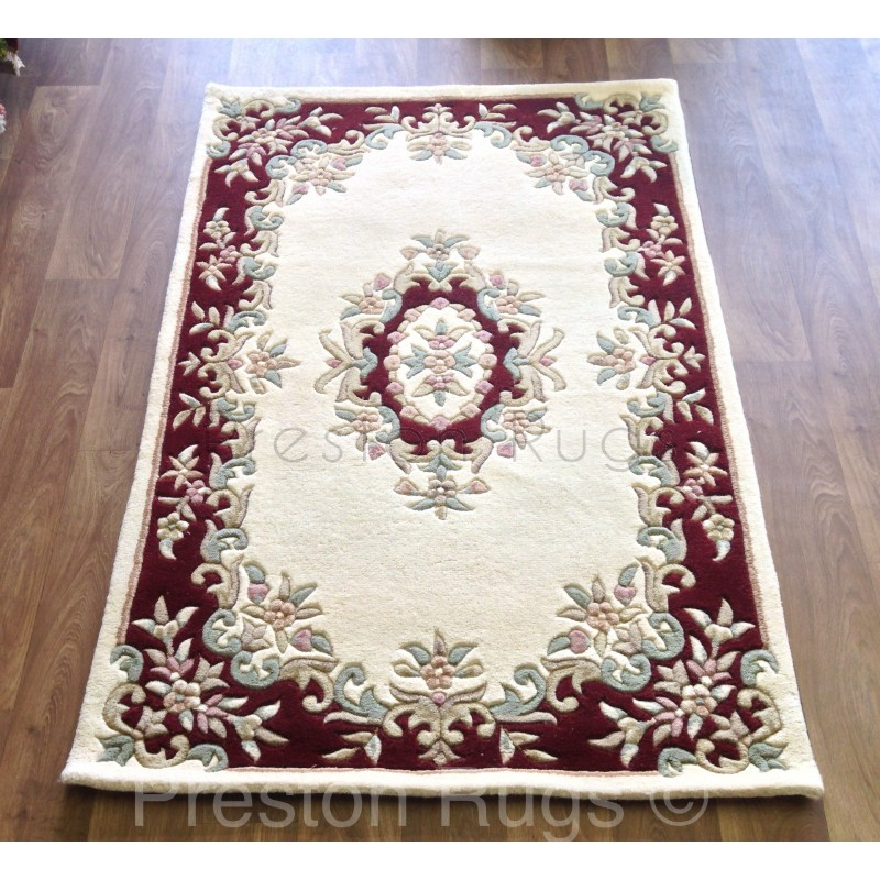 Royal traditional aubusson wool rug cream red for Cream and red rugs