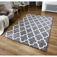 "Arabesque Moroccan Pattern Wool Rug - Grey-120 x 170 cm (4' x 5'7"")"
