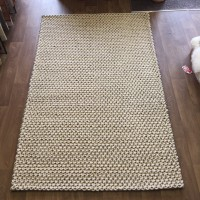 Handmade Plaited Felt Wool Special Cream Grey - 150 x 240 cm