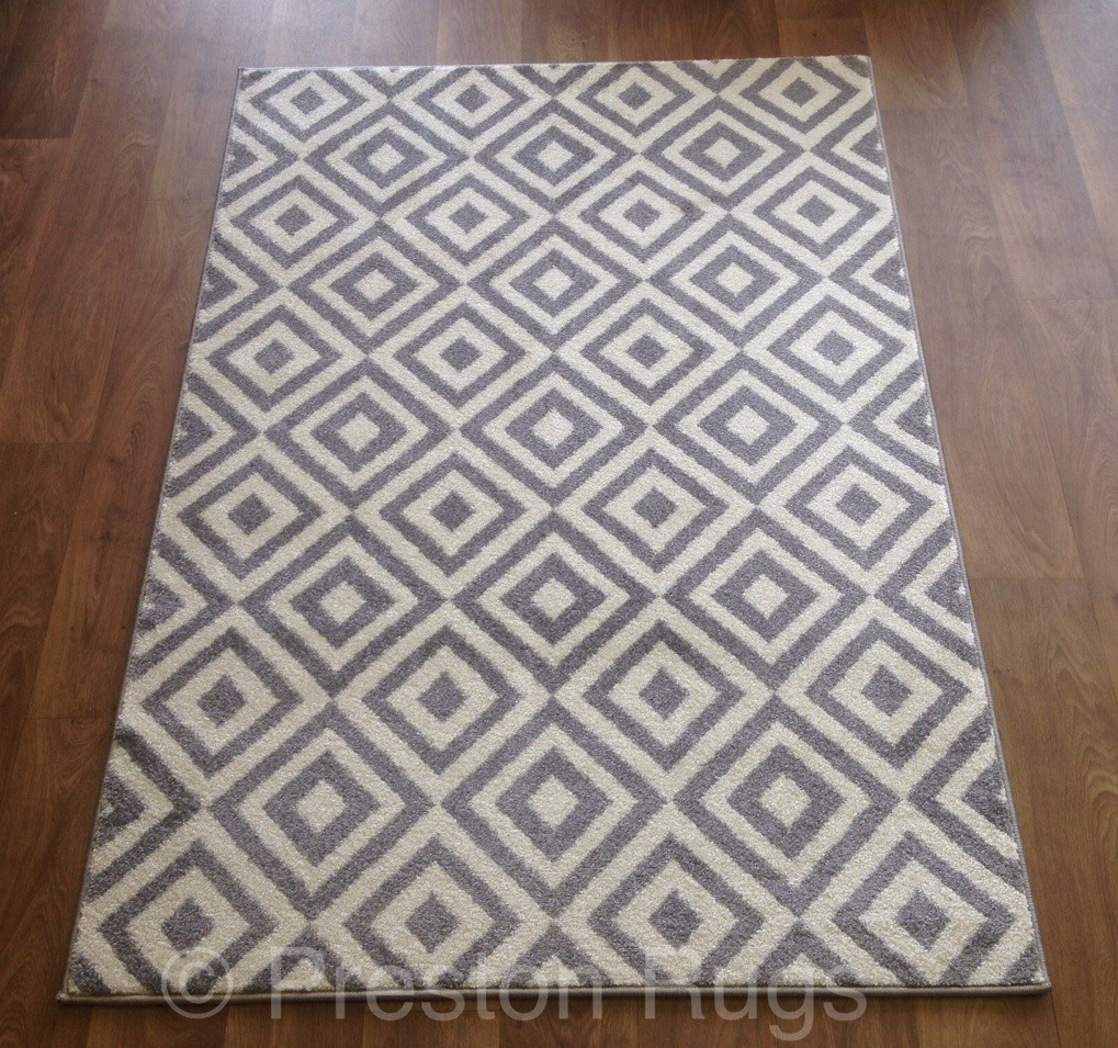 RUG MODERN DIAMONDS GREY WHITE MEDIUM LARGE  eBay
