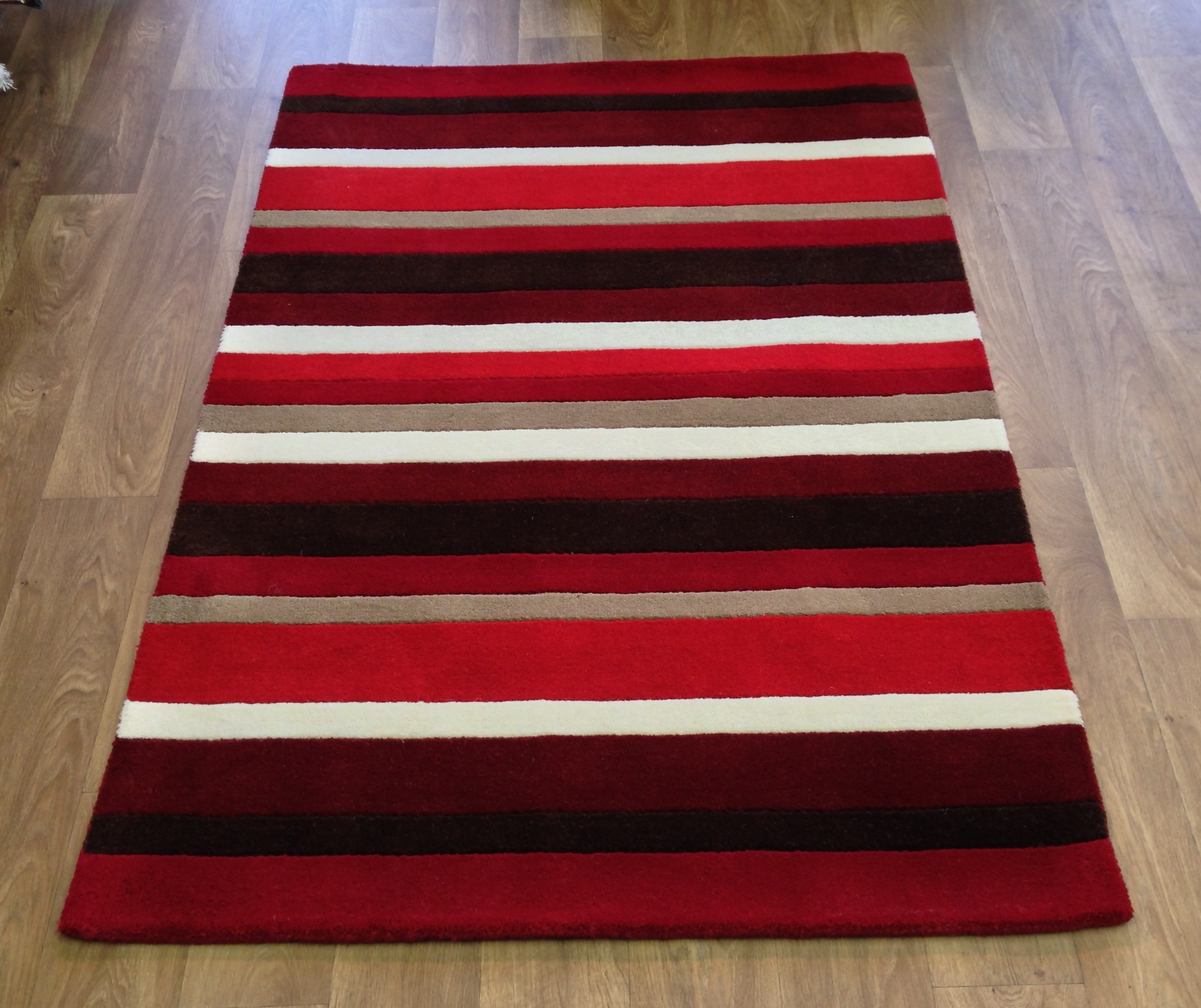 Rug modern striped wool red brown beige cream small medium for Cream and red rugs