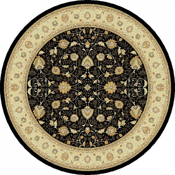 Noble Art Traditional Persian Style Rug - Black Beige 6529/090-Round Circle 160cm