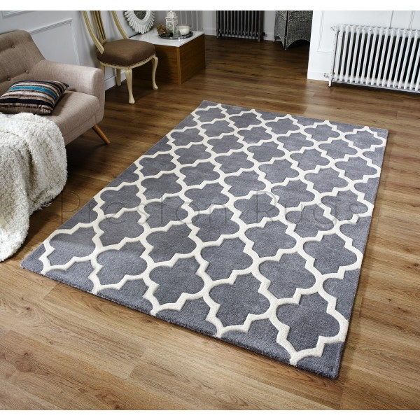 Arabesque Moroccan Pattern Wool Rug - Grey