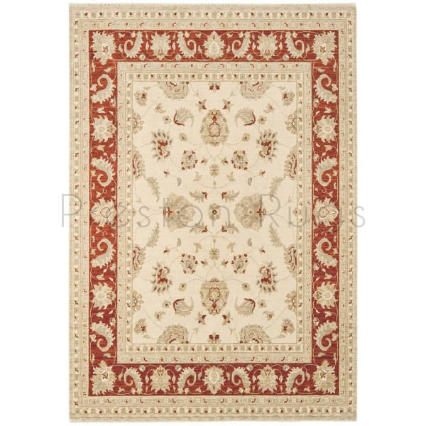 Chobi Traditional Rug - CB02 Cream Red