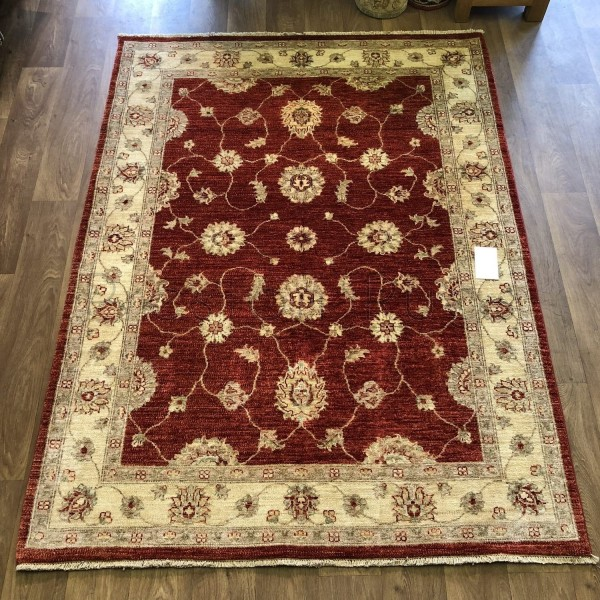 Afghan Ziegler Hand Knotted Wool Rug Red Cream 155 X 208 Cm