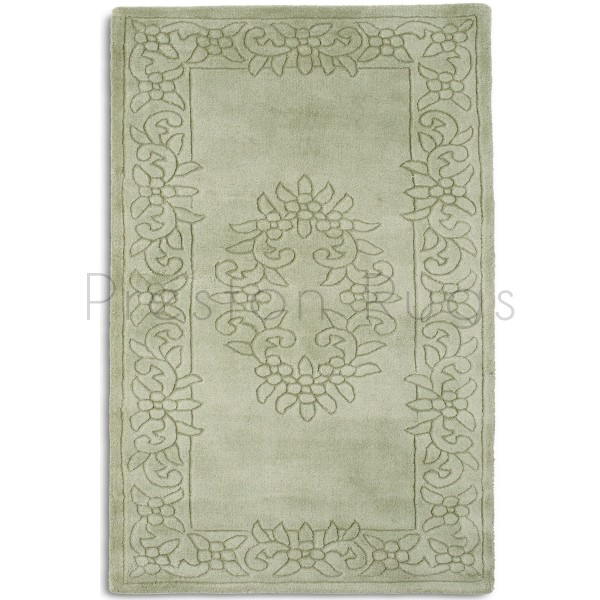 Royale Traditional Aubusson Indian Wool Rug - Light Green ROY05 180 x 300 cm
