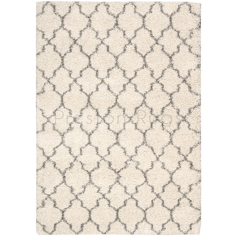 Amore Luxury Pattern Shaggy Rug Cream
