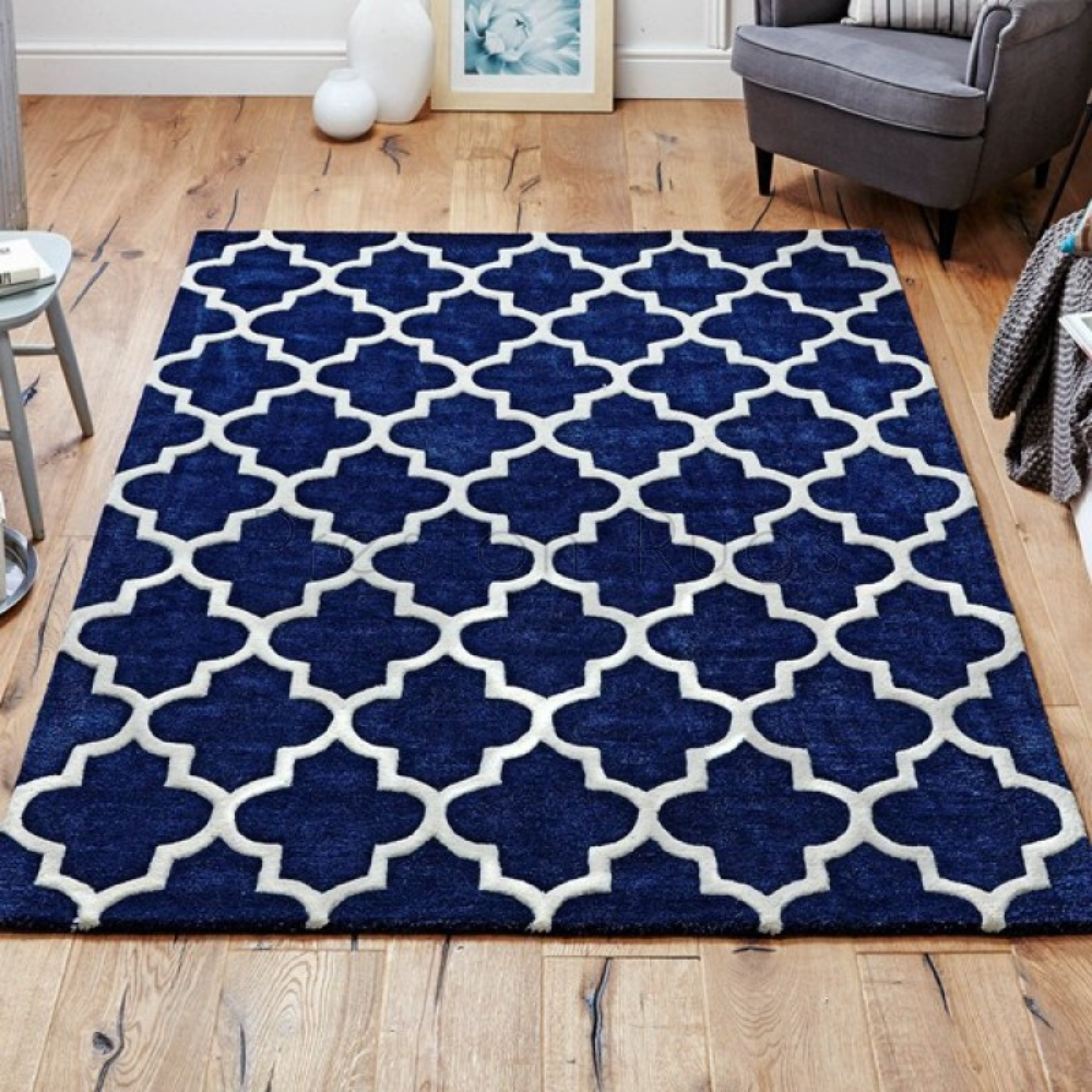 Arabesque Moroccan Pattern Wool Rug Blue