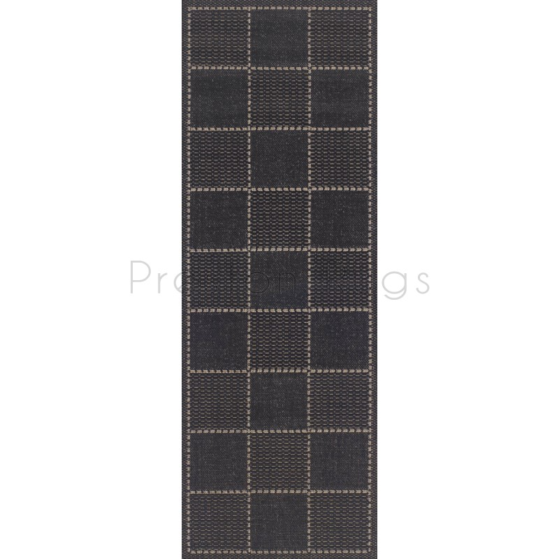 Checked Flat Weave Multi Purpose U0026 Kitchen Mat. Rug U0026 Runner   Black Runner  60 X 230 Cm