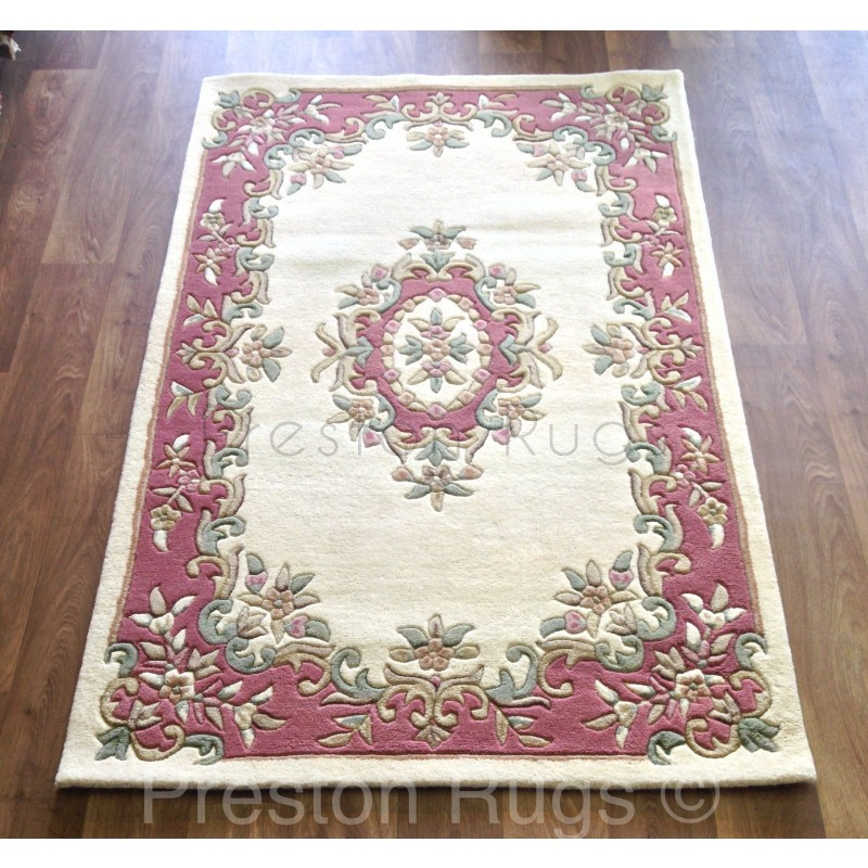 Royal Traditional Aubusson Wool Rug Cream Rose