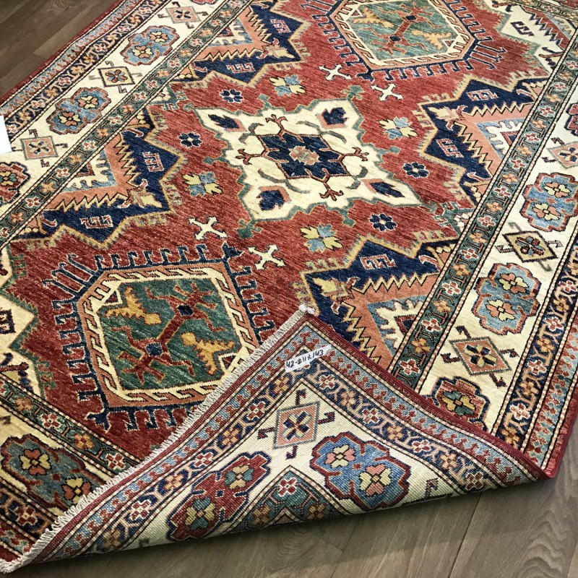 Afghan Kazak Rug: 143 X 211 Cm (4'8 X 6'11