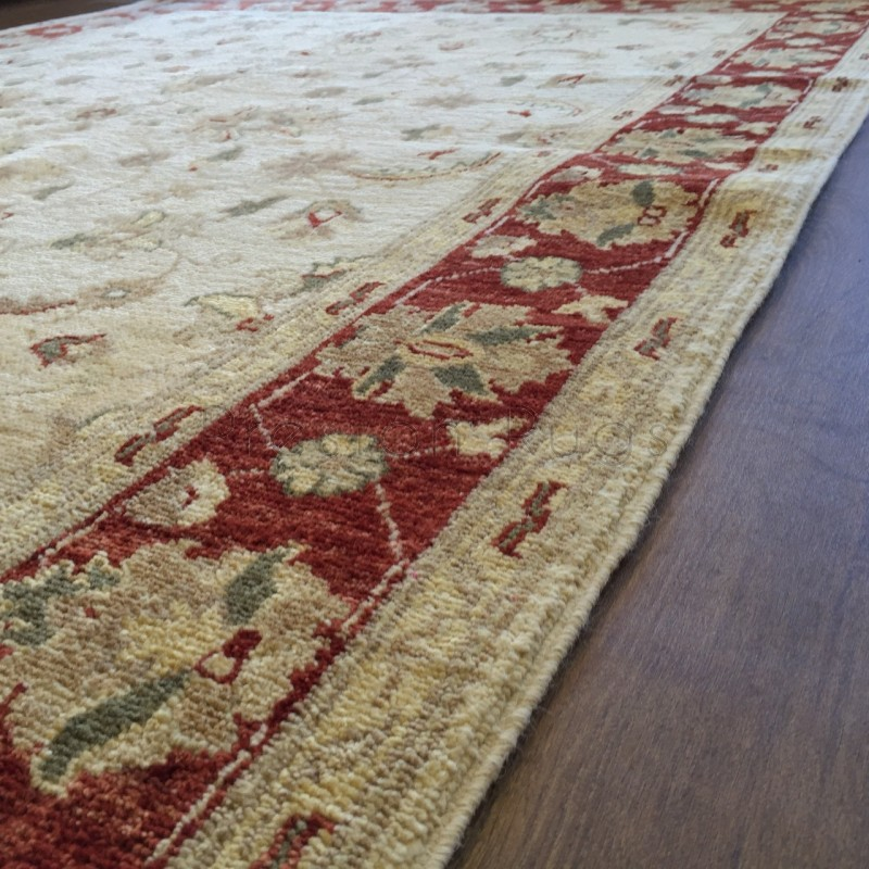 Afghan Ziegler Hand Knotted Traditional Wool Rug Cream