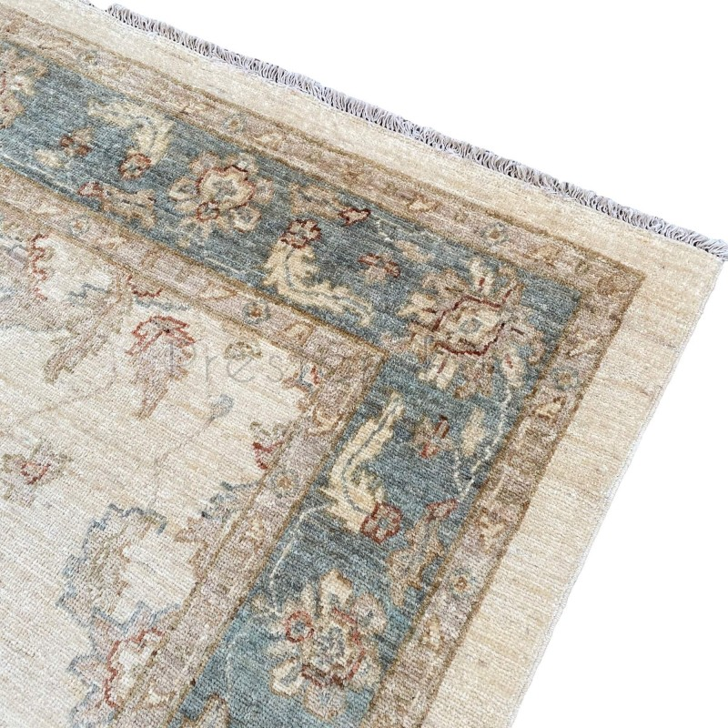Afghan Ziegler Hand Knotted Rug Cream Green 163 X 240 Cm