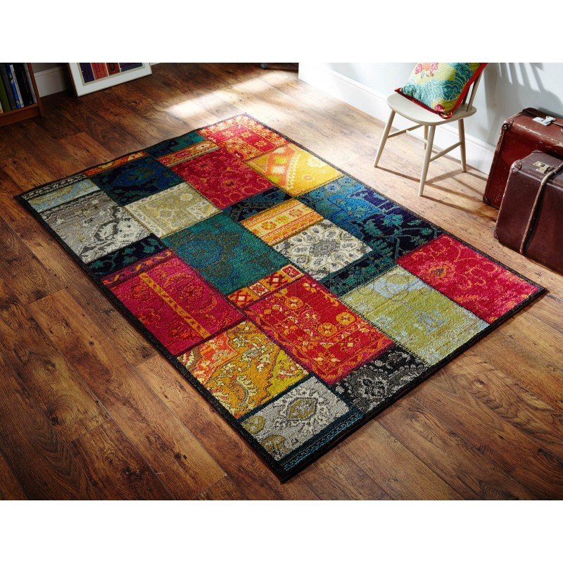 Kaleidoscope Multi Coloured Patchwork Rug 9z