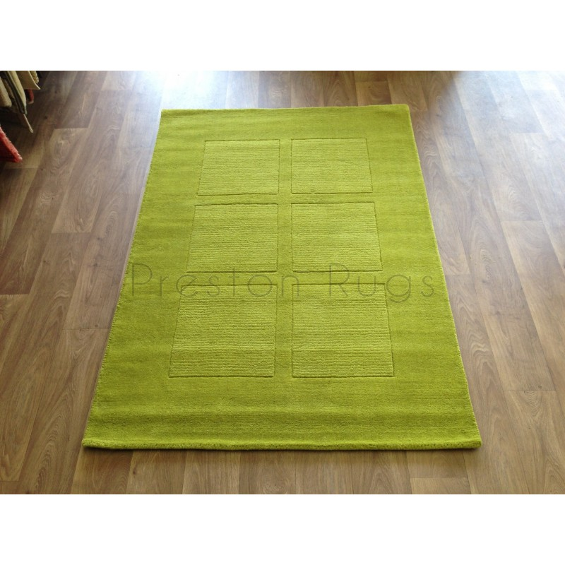 Lime Green Grey Area Rug: Trend Modern Squares Wool Rug