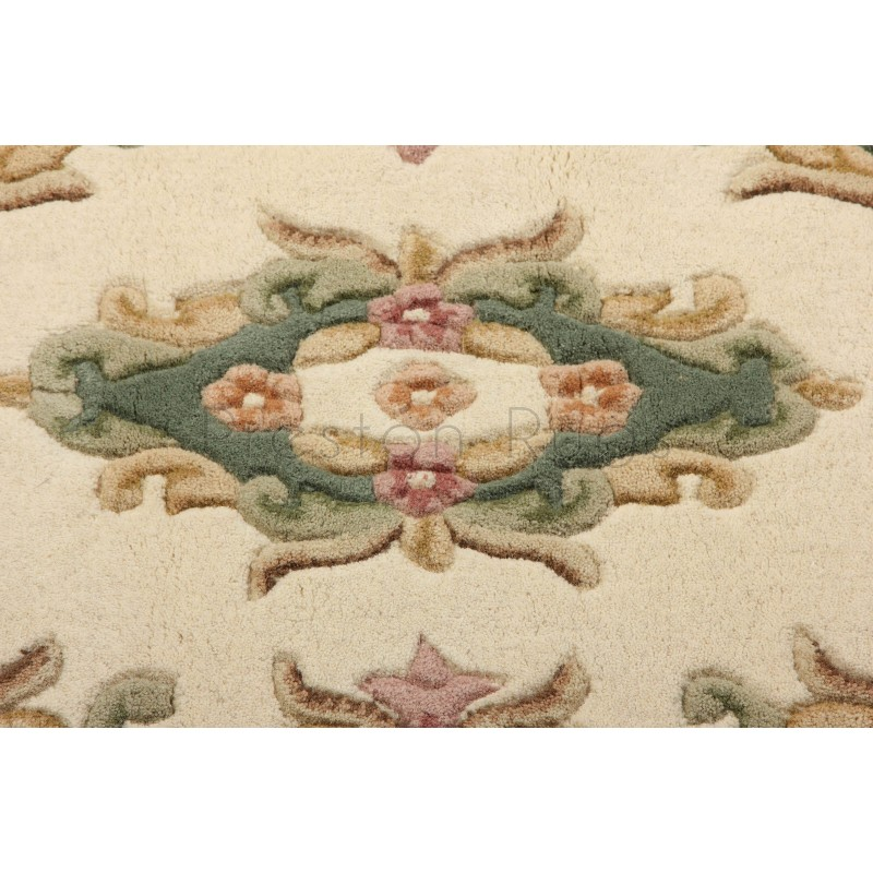 Royal Traditional Aubusson Wool Rug Cream Green