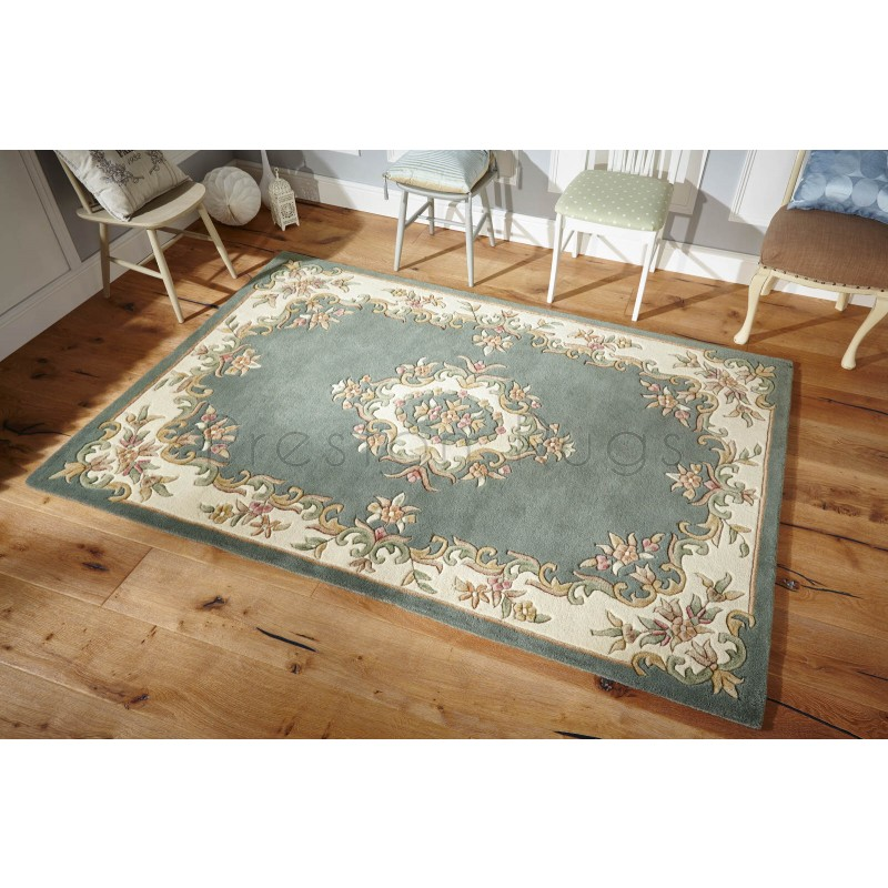Royal Traditional Aubusson Wool Rug Green