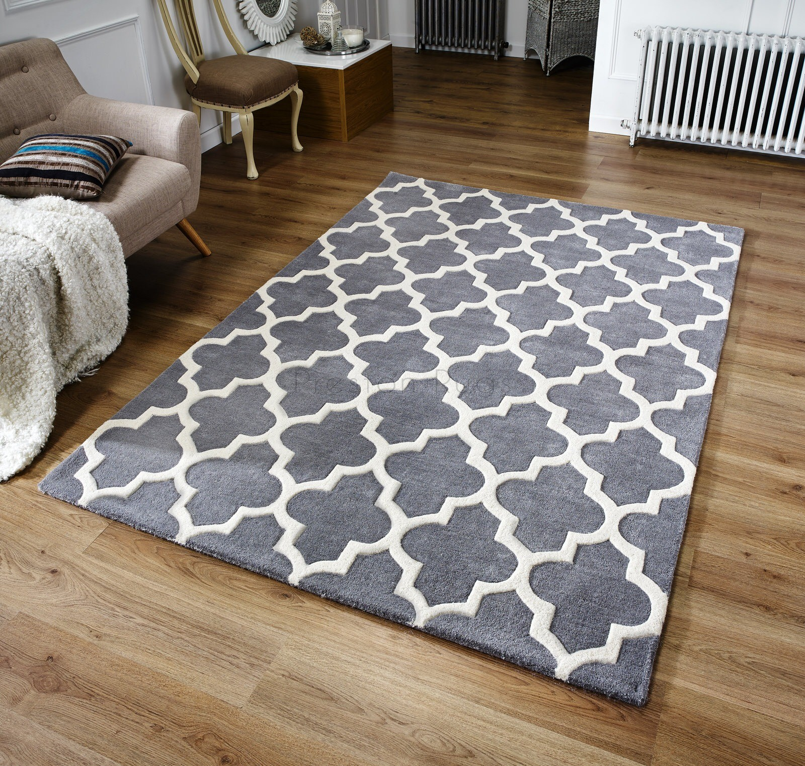 Arabesque Moroccan Pattern Wool Rug Grey