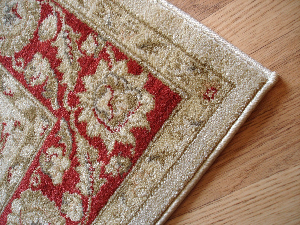 Ziegler traditional agra design rug 7709 cream red for Cream and red rugs