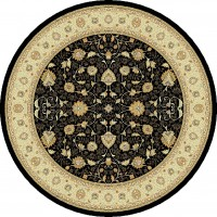 "Noble Art Traditional Persian Agra Design Rug - Black Beige 6529/090-Circle 200 cm (6'7"")"