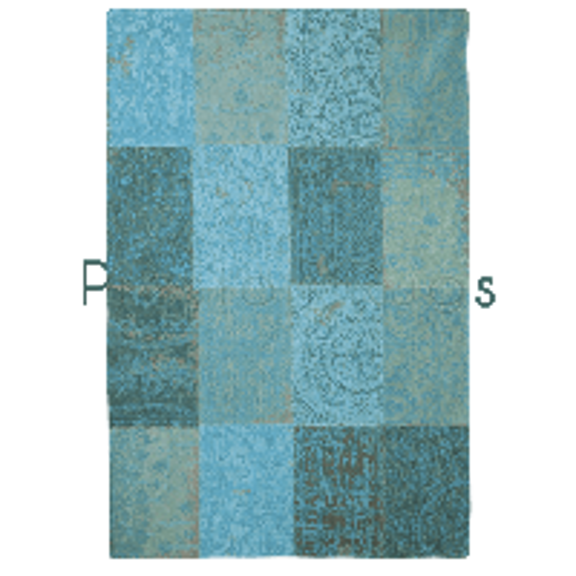 "New Vintage Azur 8015 Rug by Louis de Poortere-Runner 76 x 300 cm (2'6"" x 9'10"")"