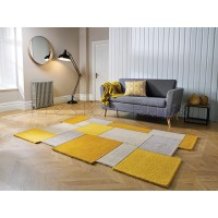 Abstract Collage Rug - Ochre Yellow