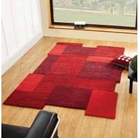 Abstract Collage Rug - Red