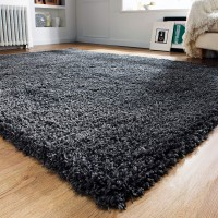Athena Shaggy Rug - Charcoal Grey