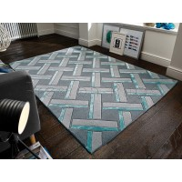 Botanical Parquet Grey Duck Egg Rug