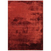 Dolce Plain Viscose Rug in Red