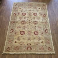 Afghan Ziegler Hand-knotted Traditional Wool Rug - Gold Red 134 x 197 cm