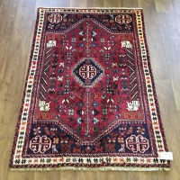 "Persian Shiraz Hand knotted Tribal Wool Rug - 100 x 147 cm (3'3"" x 4'10"")"