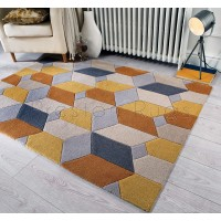 "Infinite Scope Ochre Rug - Size 160 x 230 cm (5'3"" x 7'7"")"