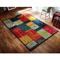 Kaleidoscope Multi Coloured Patchwork Rug - 9Z