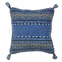 Kelim Flat-weave Rug - Blue-Cushion Covers 47 x 47 cm (Twin Pack)