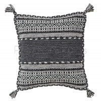 Kelim Flat-weave Rug - Charcoal-Cushion Covers 47 x 47 cm (Twin Pack)