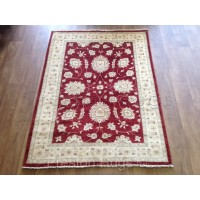 Afghan Bamiyan Zieglar Genuine Hand-knotted Traditional Wool Rug - Cream & Red