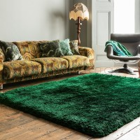 Plush Shaggy Rug - Emerald