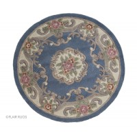 Aubusson Panel Rug  - Blue-Circle 120 cm (4')