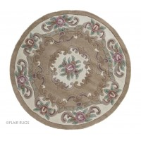 Aubusson Panel Rug  - Fawn-Circle 120 cm (4')