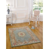 Aubusson Panel Rug  - Green-150 x 240 cm (5 x 8')