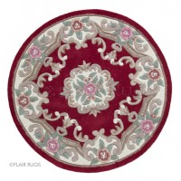 Aubusson Panel Rug  - Red-Circle 120 cm (4')