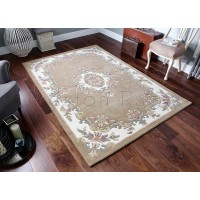 Royal Traditional Aubusson Wool Rug - Beige
