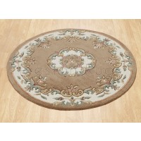Royal Traditional Wool Rug - Beige-Circle 120 cm