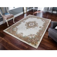 Royal Traditional Aubusson Wool Rug - Cream Beige