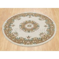 Royal Traditional Wool Rug - Cream Beige-Circle 120 cm