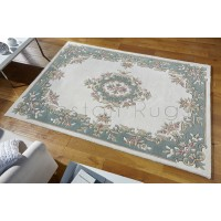 Royal Traditional Aubusson Wool Rug - Cream Green